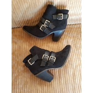 Merona Black Faux Suede Strap and Buckle Booties